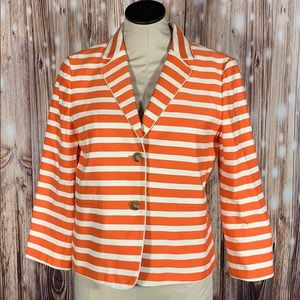 Ann Taylor Orange White Striped Blazer 6